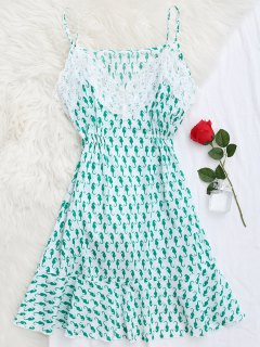 Sea Horse Print Lace Panel Cami Sleep Dress - Green S