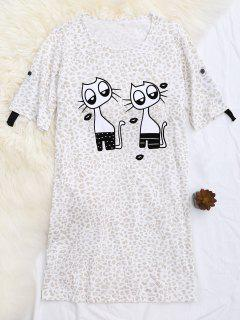 T-shirt à Imprimé Léopard Rembourré à Motifs Imprimés - Abricot S