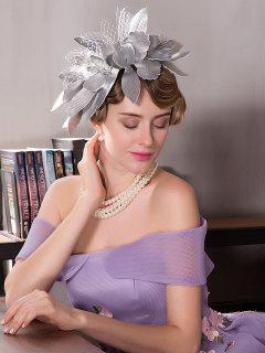 Mesh Floral Leaves Shape Hairpin Cocktail Hat - Silver