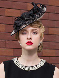 Mesh Piece Lace Flower Ribbon Cocktail Hat - Black