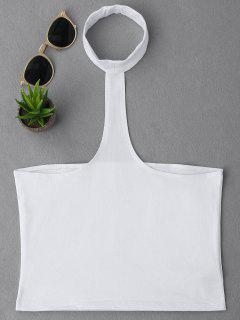 Cropped Racerback Tank Top - White