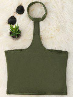 Cropped Racerback Tank Top - Army Green