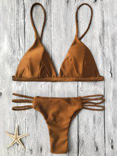 Padded Bikini Top And Braided String Bottoms - Brown S