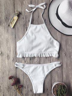 Geripptes Bikini Set Mit Rüschen Und Hohem Ausschnitt - Weiß L