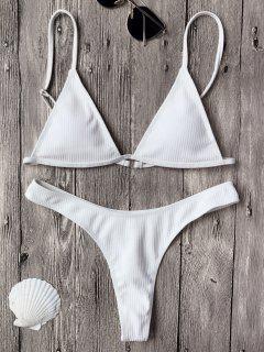 Haut De Bikinis Texturé à Col Plongeant + Bas Lacet - Blanc L