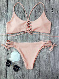 Banded Front Strappy Padded Bikini Set - Pink S
