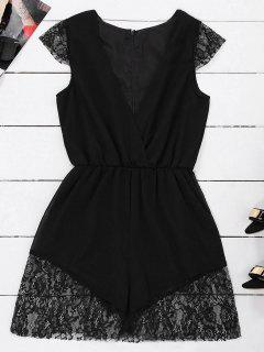 Lace Panel Plunge Sleeveless Chiffon Romper - Black S