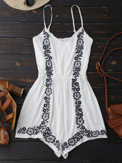 Cami Floral Embroidered Romper - White
