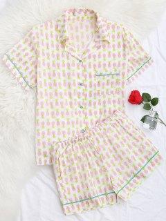 Vêtements De Salon Chemisier Imprimé Ananas Avec Poche Et Shorts - Blanc S