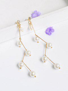 Artificial Pearl Rhinestone Dangle Earrings - Golden