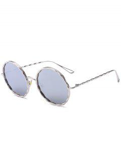 Wavy Metal Frame Hollow Out Leg Sunglasses - Sliver Frame+mercury Lens