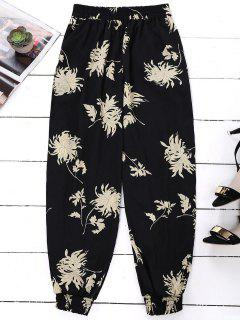 Floral Print Bloomer Holiday Pants - Black