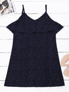 Robe à Bretelle Volantée Dos V Imprimée Polka Dot - Bleu Violet L