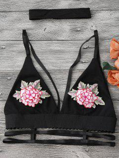 Strappy Caged Bralette Top With Choker - Black M