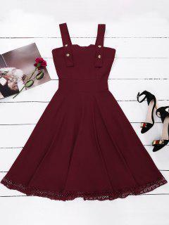 Vestido Con Panel De Encaje Con Vuelo Sin Mangas - Vino Rojo S