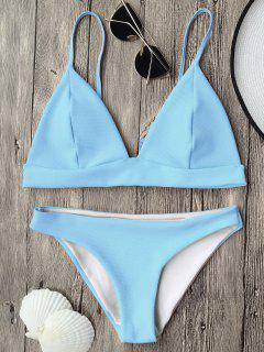 Cami Plunge Bralette Bikini Top And Bottoms - Light Blue M