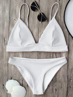 Cami Plunge Bralette Bikini Top And Bottoms - White M