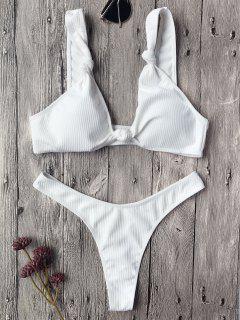 Textured Knotted Bralette Thong Bikini Set - White S