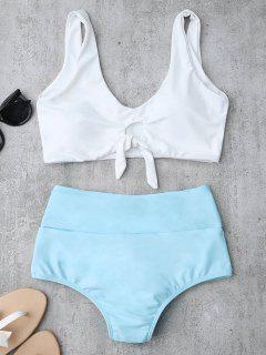 Knotted High Waisted Ruched Bikini Set - Azure Xl