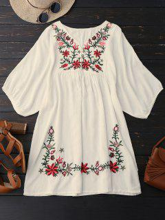 Floral Embroidered V Neck Peasant Dress - Palomino
