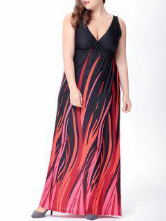 Elegante Con Cuello En V De Talle Alto Plisado Color Del Golpe Del Vestido Maxi Para Las Mujeres - Negro L