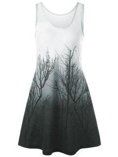 Vestido Sin Mangas Con Estampado De Noche De Tree Night Scene - Gris Verde M
