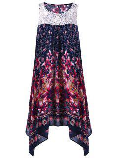 Floral Sleeveless Cutwork Tent Dress - Purplish Blue M