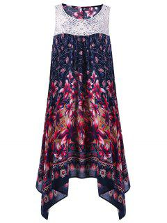 Floral Sleeveless Cutwork Tent Dress - Purplish Blue 2xl