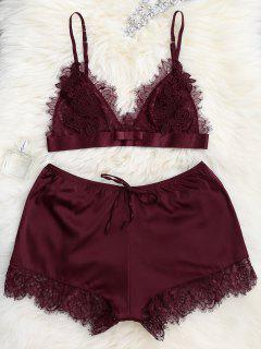 Sheer Lace Bra With Pajama Shorts - Wine Red S