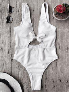 Bowknot Textured High Cut One Piece Swimsuit - White M