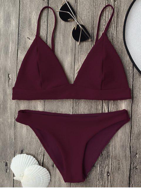 online Cami Plunge Bralette Bikini Top and Bottoms - BURGUNDY S Mobile