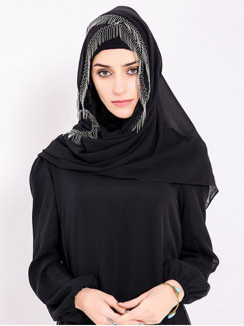 fancy Chiffon Muslim Gossamer Metal Fringed Hijab Headscarf - BLACK  Mobile
