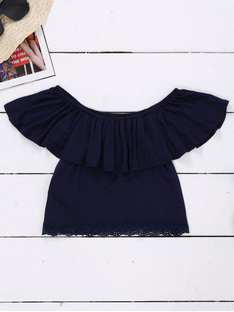 chic Off Shoulder Ruffle Lace Crop Top - PURPLISH BLUE XL Mobile