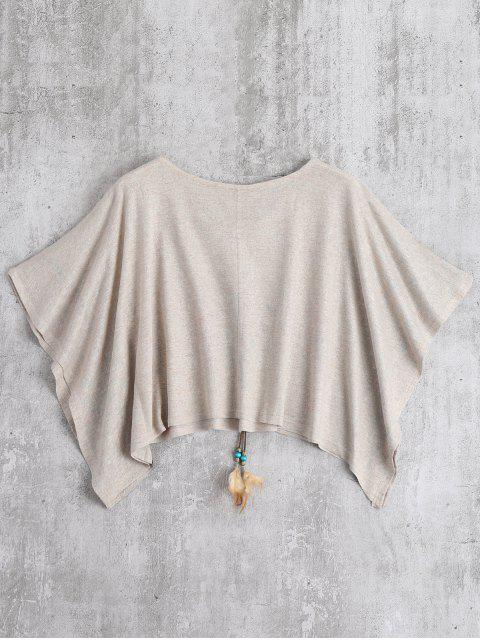 womens Oversized Cape Jacquard Blouse - APRICOT S Mobile