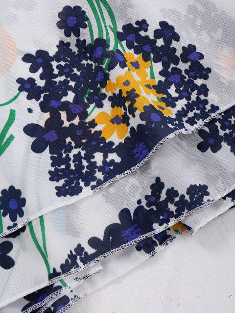 Chiffon Crossover Straps Floral Tank Top - Blanc XL Mobile