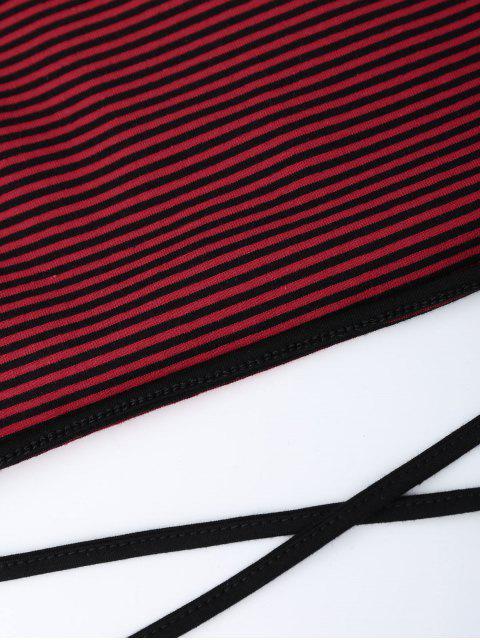Débardeur court rayé avec lanière - Rouge TAILLE MOYENNE Mobile