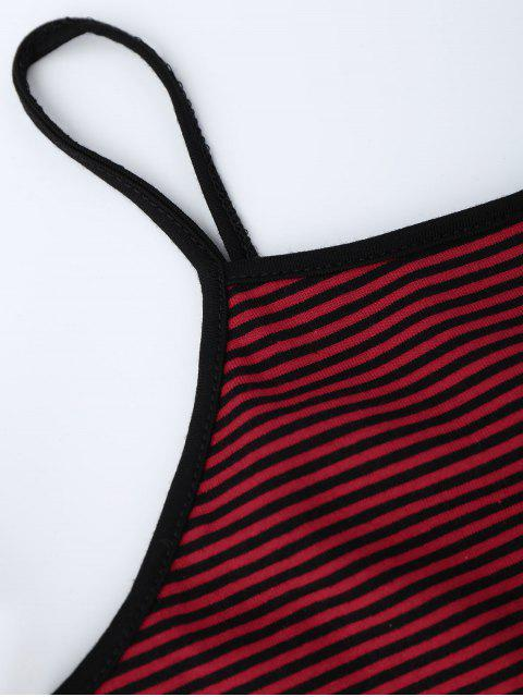 hot Cropped Stripes Strappy Tank Top - RED ONE SIZE Mobile