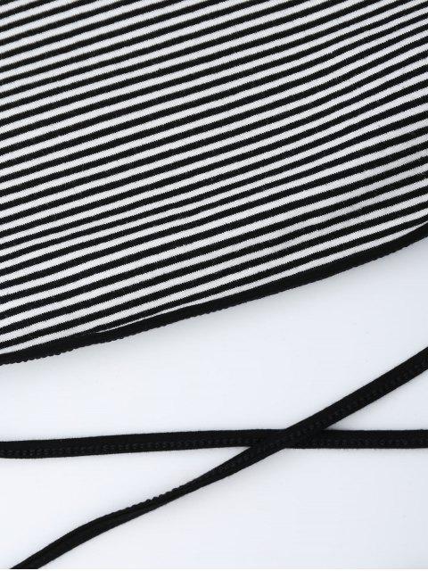 Débardeur court rayé avec lanière - Noir TAILLE MOYENNE Mobile