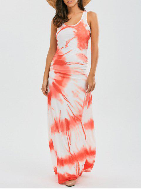Racerback Tie Dyed Maxi Dress - Tangerine S Mobile