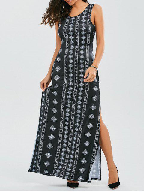 sale Back Bowknot Geometric Maxi Dress - BLACK S Mobile