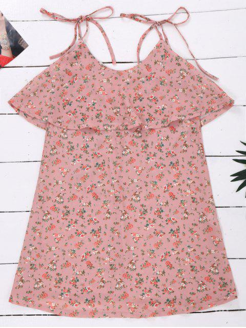 buy Cami Floral Ruffle Backless Dress - LIGHT PINK M Mobile