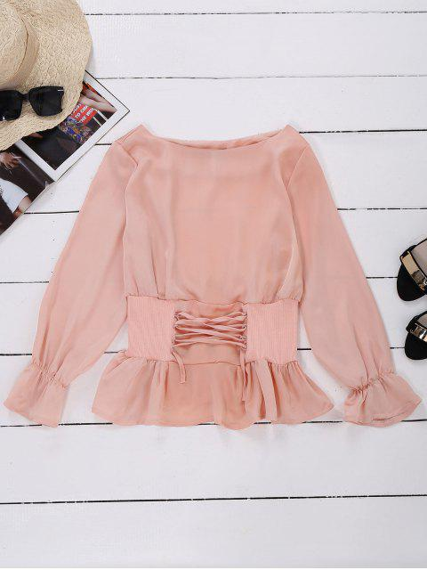 shop Satin Lace Up Waistband Blouse - PINK L Mobile
