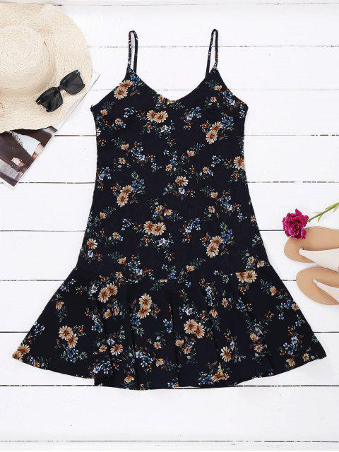 Floral Ruffle Hem Holiday Sundress - Floral TAILLE MOYENNE Mobile