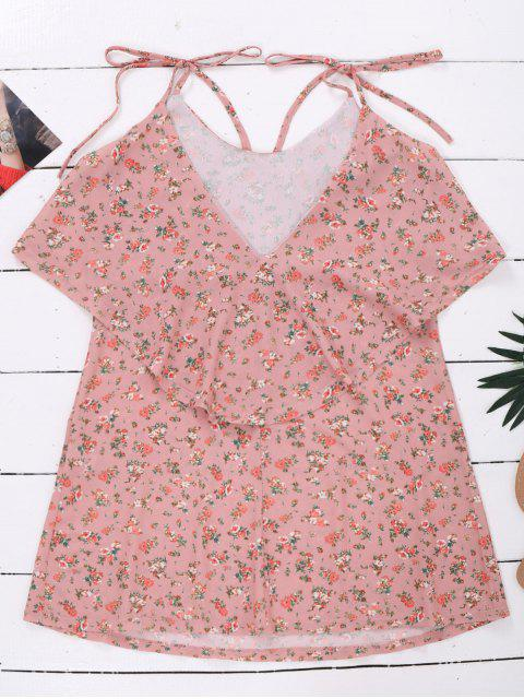 women Cami Floral Ruffle Backless Dress - LIGHT PINK L Mobile