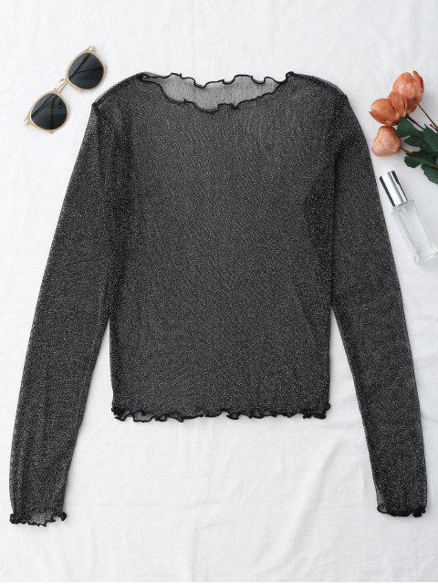 trendy Glittered Layering See-Through Top - BLACK S Mobile