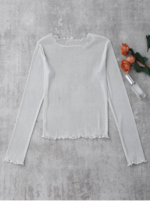 sale Glittered Layering See-Through Top - WHITE S Mobile