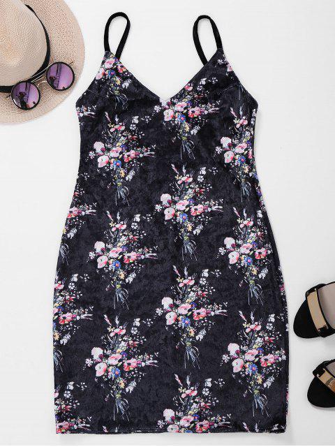 new Backless Lace Up Floral Velvet Dress - BLACK M Mobile
