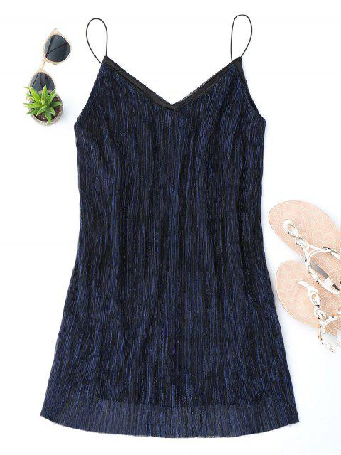 latest See Through Glittered Club Dress - PURPLISH BLUE M Mobile