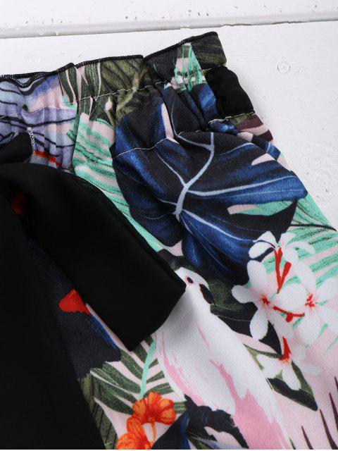 Shorts de plage imprimé plante embelli nœud avant - Multicolore M Mobile