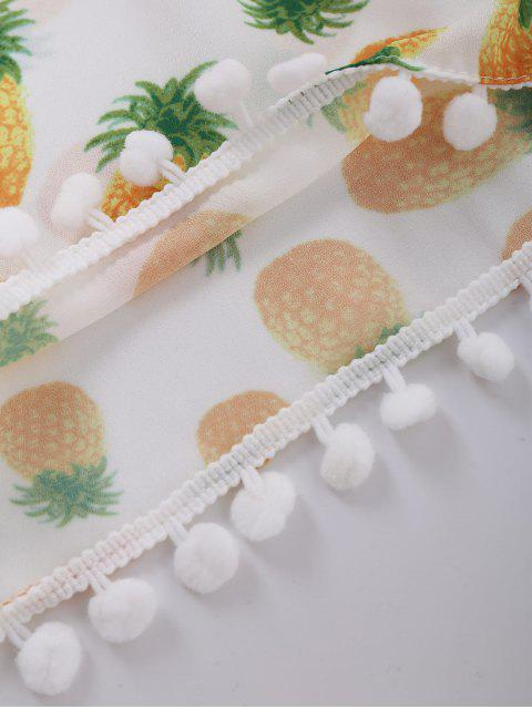 Shorts imprimés ananas embelli pompon - Blanc XL Mobile